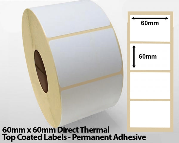 60x 60mm Direct Thermal Top Coated Labels - Permanent Adhesive