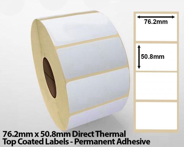 76.2x 50.8mm Direct Thermal Top Coated Labels - Permanent Adhesive