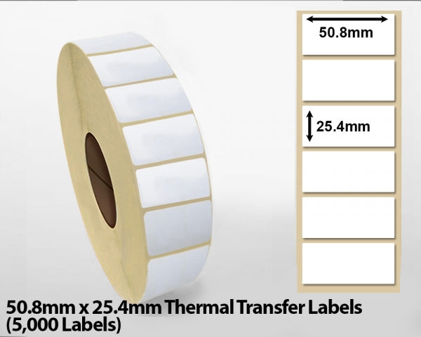 50.8mm x 25.4mm Thermal Transfer Labels (5000 Labels)
