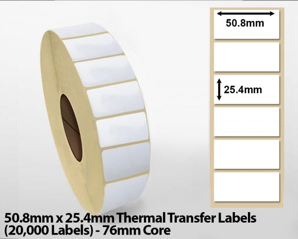 50.8x25.4mm Thermal Transfer Labels (20000 Labels) 76mm core