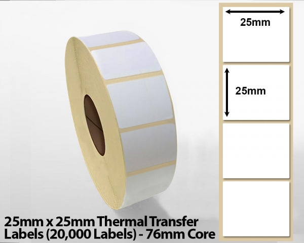 25x25mm Thermal Transfer Labels (20000 Labels) 76mm core