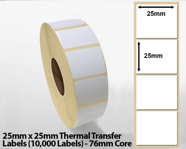 25x25mm Thermal Transfer Labels (10000 Labels) 76mm core