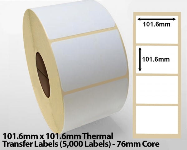 101.6x101.6mm Thermal Transfer Labels (5000 Labels) 76mm core