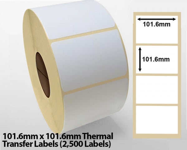 101.6mm x 101.6mm Thermal Transfer Labels (2500 Labels)