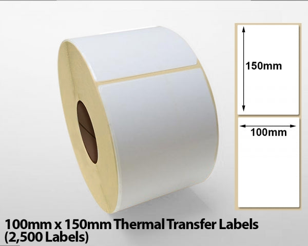 100mm x 150mm Thermal Transfer Labels (2500 Labels)