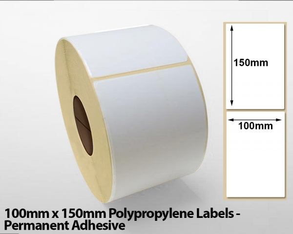 100mm x 150mm Polypropylene Labels - Permanent Adhesive