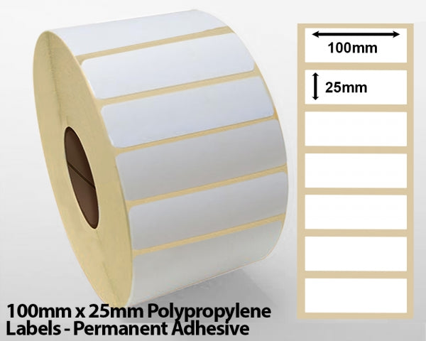 100mm x 25mm Polypropylene Labels - Permanent Adhesive