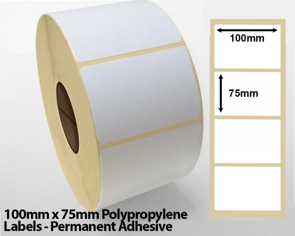 100mm x 75mm Polypropylene Labels - Permanent Adhesive