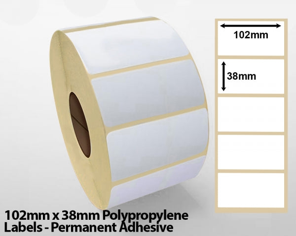 102mm x 38mm Polypropylene Labels - Permanent Adhesive