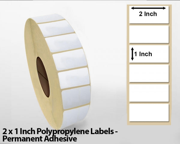 2 x 1 Inch Polypropylene Labels - Permanent Adhesive