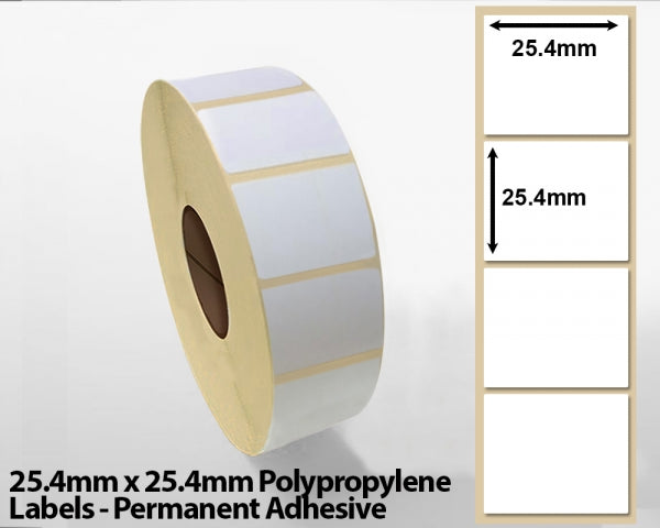 25.4mm x 25.4mm Polypropylene Labels - Permanent Adhesive