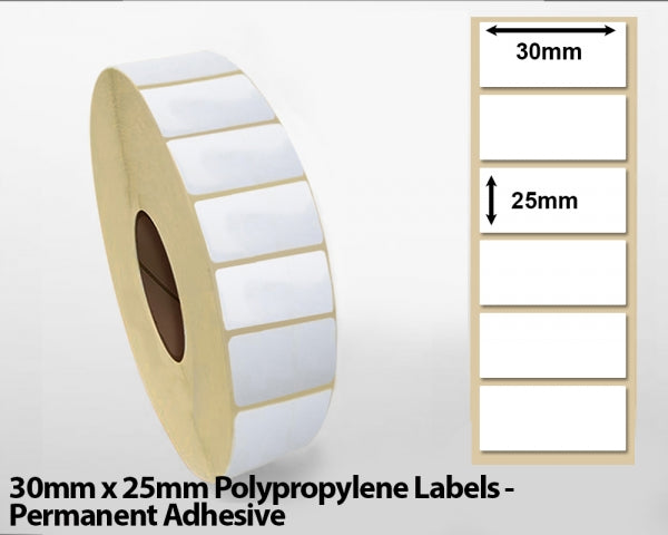 30mm x 25mm Polypropylene Labels - Permanent Adhesive