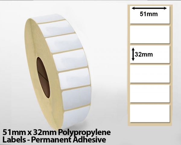 51mm x 32mm Polypropylene Labels - Permanent Adhesive