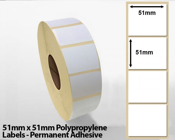 51mm x 51mm Polypropylene Labels - Permanent Adhesive