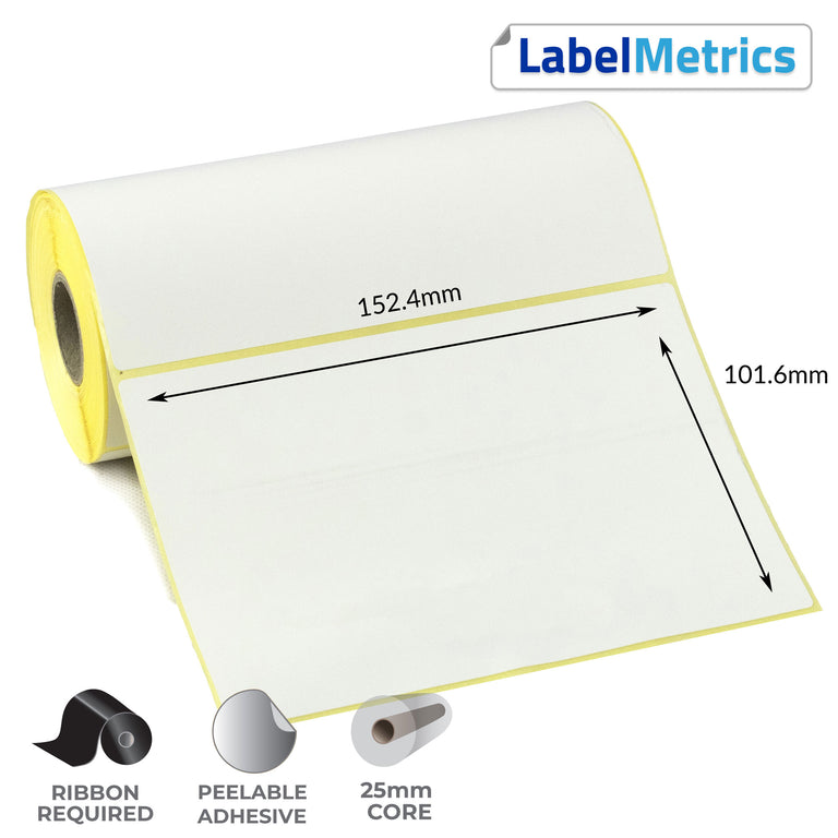 152.4 x 101.6mm Thermal Transfer Labels - Removable Adhesive