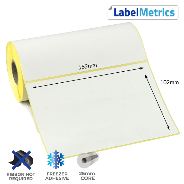 152 x 102mm Direct Thermal Labels - Freezer Adhesive