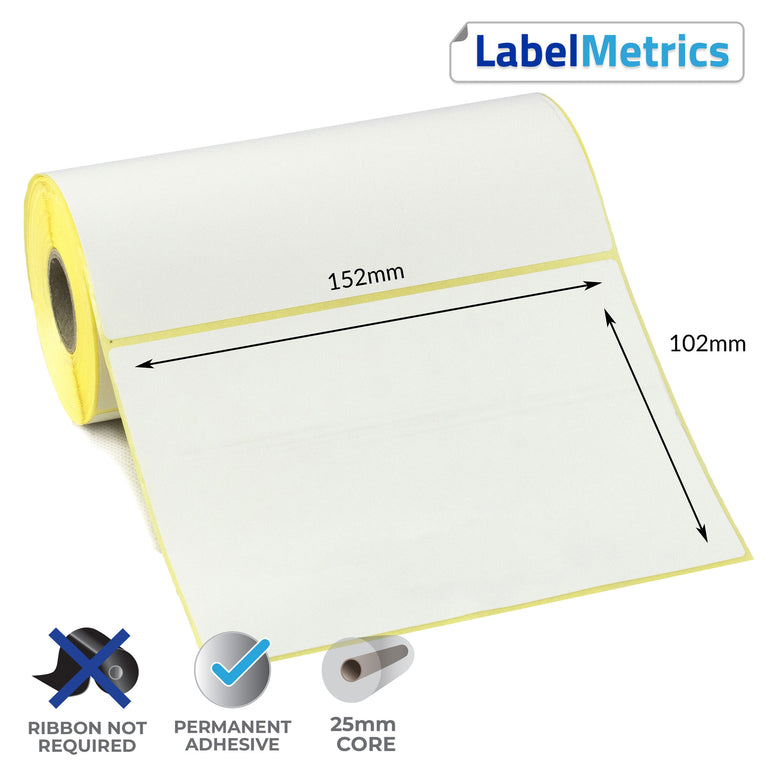 152 x 102mm Direct Thermal Labels - Permanent Adhesive