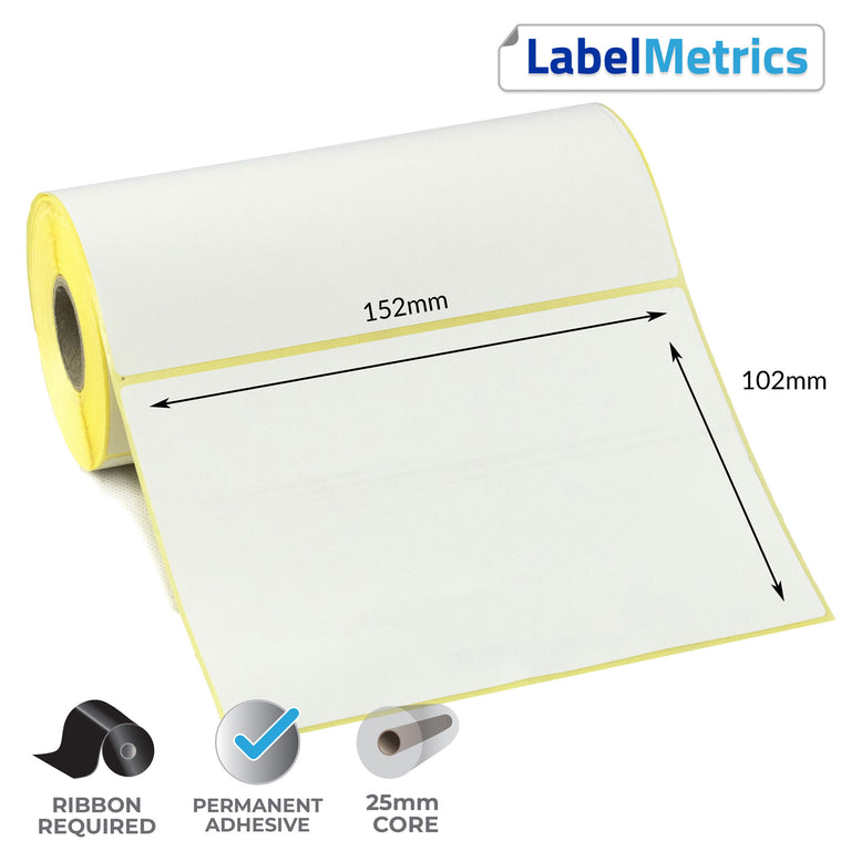 152 x 102mm Thermal Transfer Labels - Permanent Adhesive