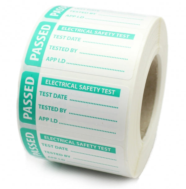 PAT Test Labels - 4th Edition - Passed - Tough Polypropylene Labels. 50mm x 25mm.