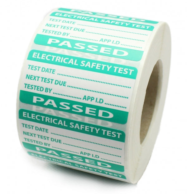 Green Passed PAT testing Labels - Strong Polypropylene - Tear Proof