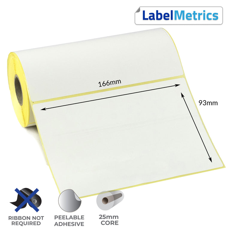 166 x 93mm Direct Thermal Labels - Removable Adhesive