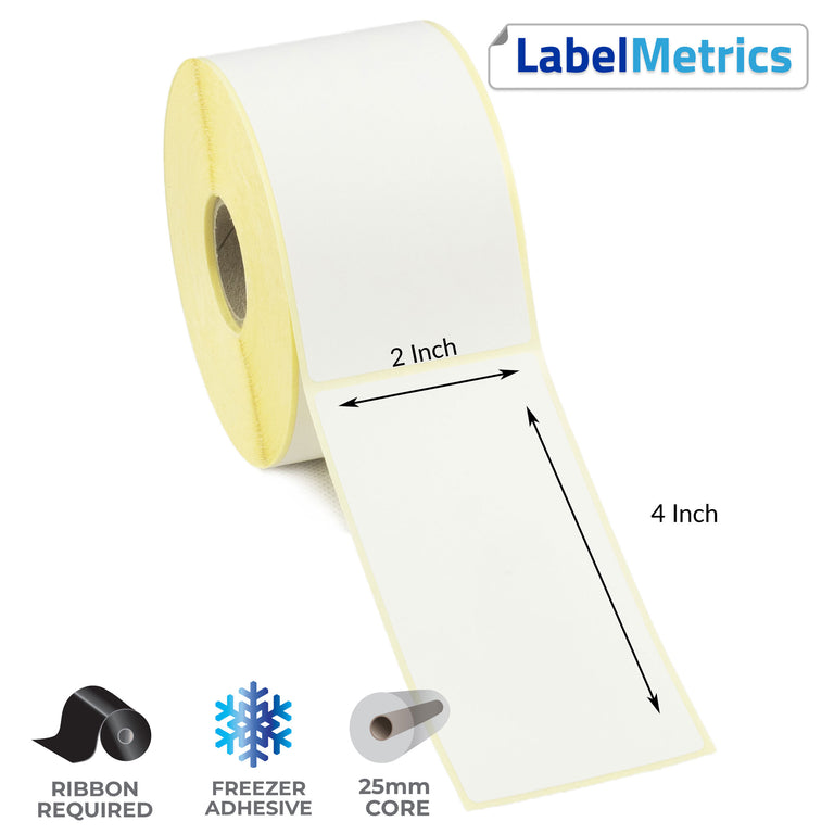 2 x 4 Inch Thermal Transfer Labels - Freezer Adhesive