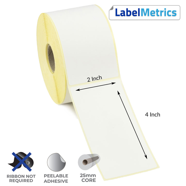 2x4 Inch Direct Thermal Labels - Removable Adhesive