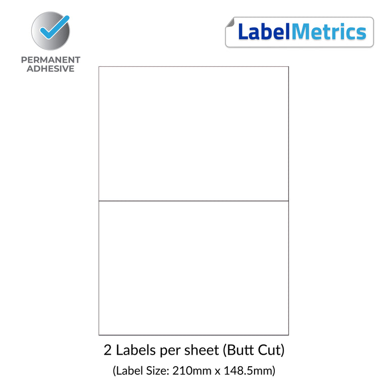 A4 Laser Labels - Inkjet Labels - 2 Per Sheet (210mm x 148.5mm)