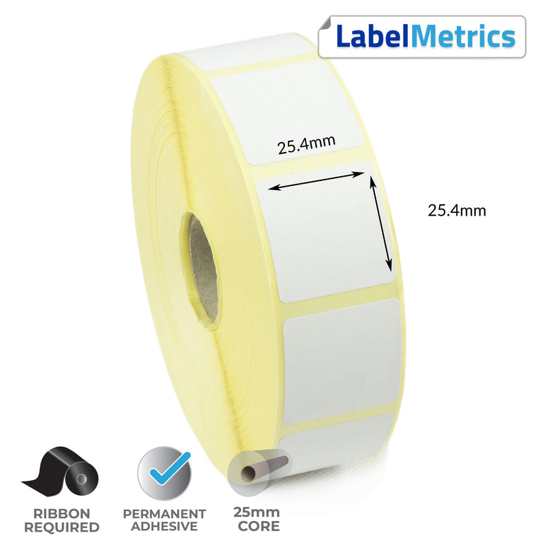 25.4 x 25.4mm Thermal Transfer Labels - Permanent Adhesive