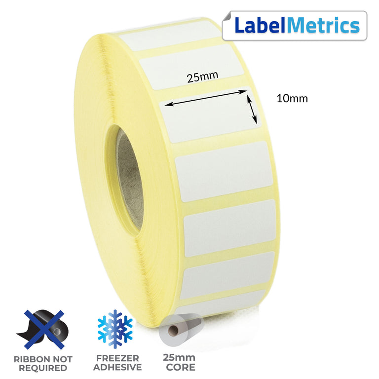 25 x 10mm Direct Thermal Labels - Freezer Adhesive
