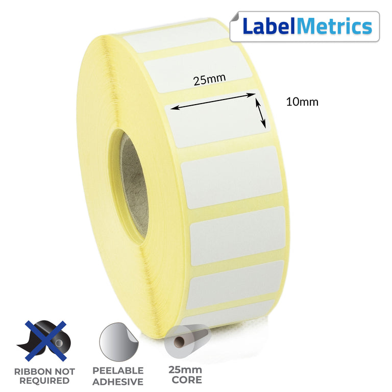 25 x 10mm Direct Thermal Labels - Removable Adhesive