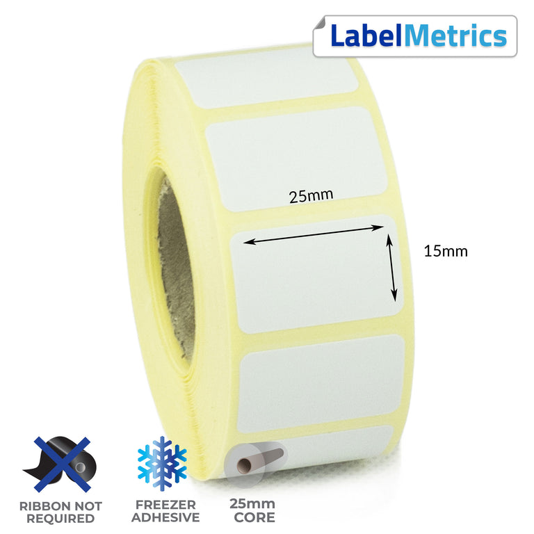 25 x 15mm Direct Thermal Labels - Freezer Adhesive