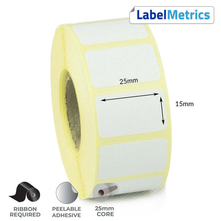 25 x 15mm Thermal Transfer Labels - Removable Adhesive