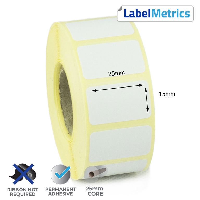 25 x 15mm Direct Thermal Labels - Permanent Adhesive