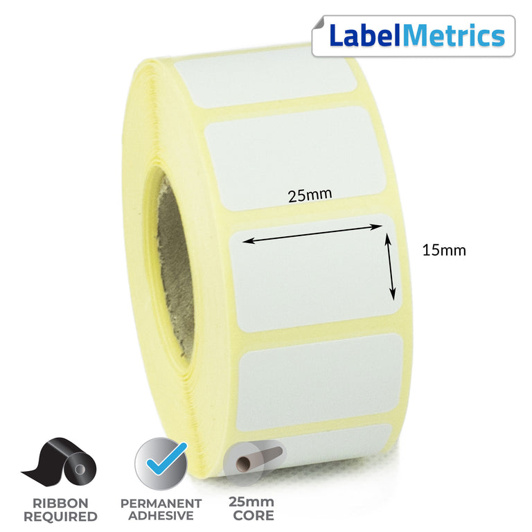 25 x 15mm Thermal Transfer Labels - Permanent Adhesive