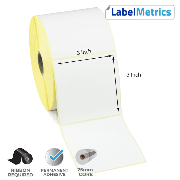 3 x 3 Inch Thermal Transfer Labels - Permanent Adhesive