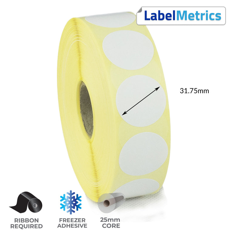 31.75mm Diameter Thermal Transfer Labels - Freezer Adhesive