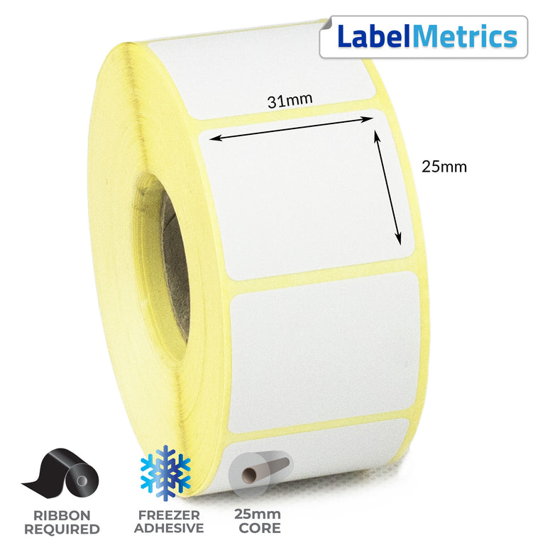31 x 25mm Thermal Transfer Labels - Freezer Adhesive