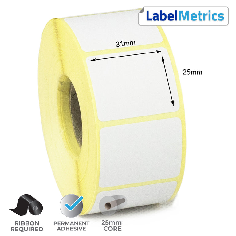 31 x 25mm Thermal Transfer Labels - Permanent Adhesive