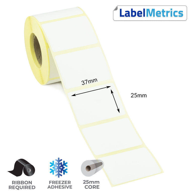 37 x 25mm Thermal Transfer Labels - Freezer Adhesive