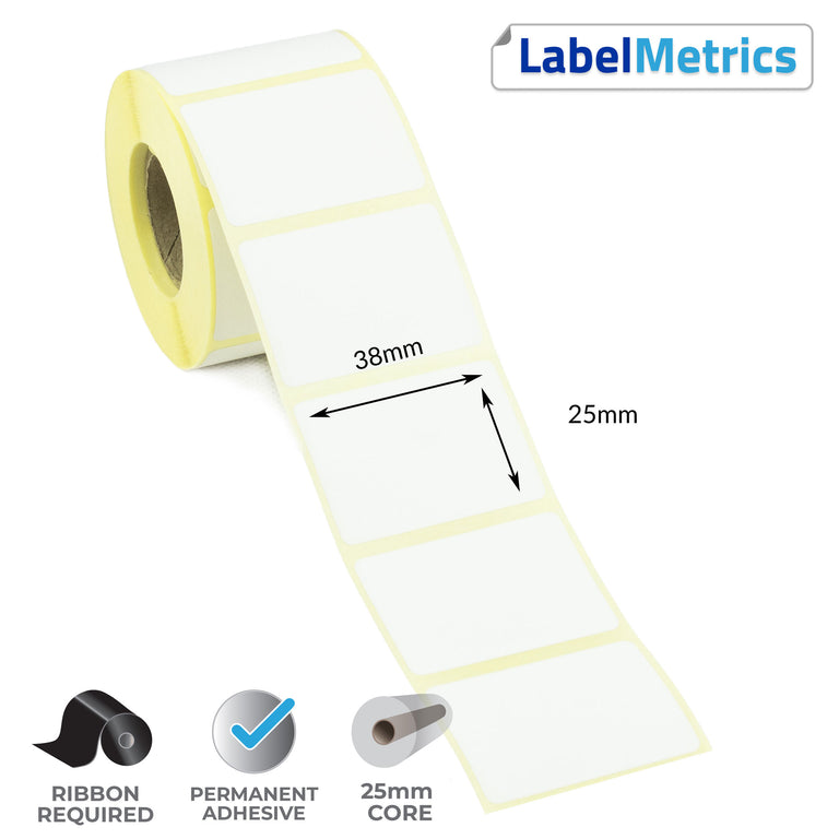 38 x 25mm Thermal Transfer Labels - Permanent Adhesive