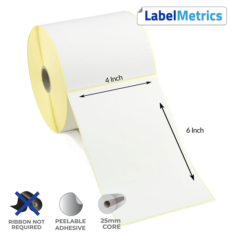 4x6 Inch Direct Thermal Labels - Removable Adhesive