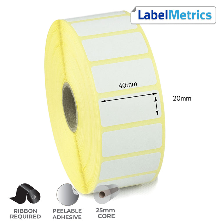40 x 20mm Thermal Transfer Labels - Removable Adhesive