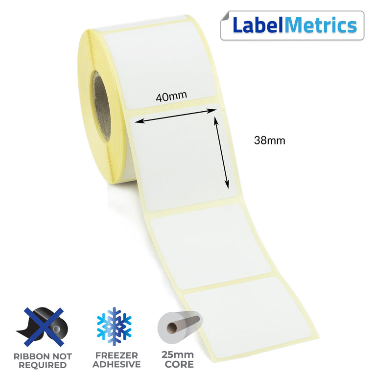 40 x 38mm Direct Thermal Labels - Freezer Adhesive