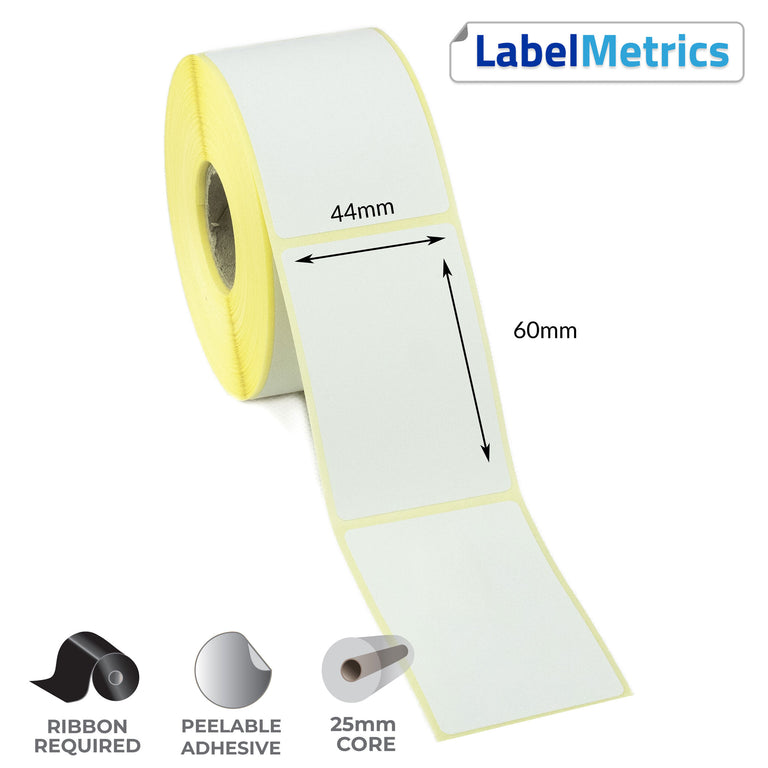 44 x 60mm Thermal Transfer Labels - Removable Adhesive