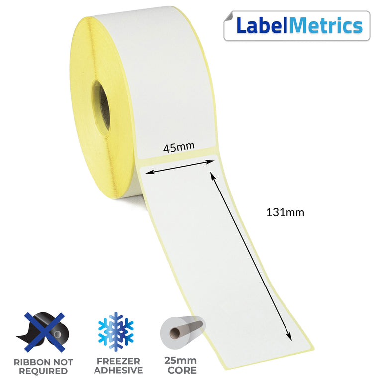 45 x 131mm Direct Thermal Labels - Freezer Adhesive