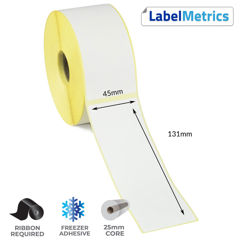 45 x 131mm Thermal Transfer Labels - Freezer Adhesive