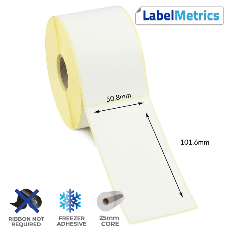 50.8 x 101.6mm Direct Thermal Labels - Freezer Adhesive