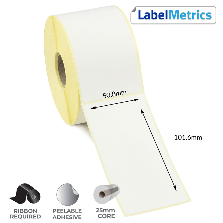 50.8 x 101.6mm Thermal Transfer Labels - Removable Adhesive