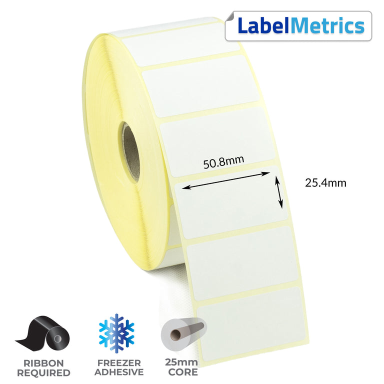 50.8 x 25.4mm Thermal Transfer Labels - Freezer Adhesive
